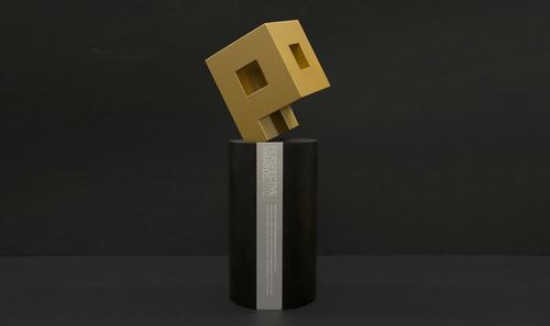 Leigh & Orange winning Perspective Awards Trophy – Run Run Shaw Creative Media Centre